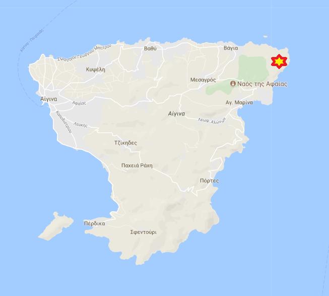 Απεικόνιση της τοποθεσίας στον χάρτη. Διακρίνονται τα 3 πυροβολεία (Π1 = άνευ bunker, Π2-3 = με bunker) και το παρατηρητήριο (ΠΑ).