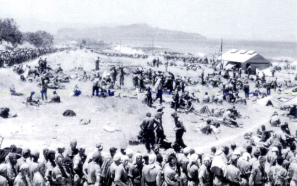 Allied POWs exposed to the scorching sun with scarce medical attention and little food