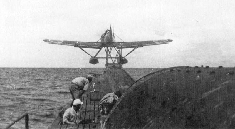 "An E14Y1 ""Glen"" is catapulted off a Japanese submarine. A similar floatplane attacked the continental U.S. twice."