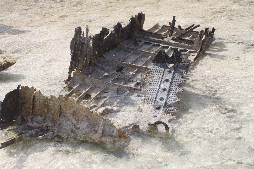 G4M wreckage on the reef at Gegibu Island (photo courtesy of Jack and Kathy Jones)