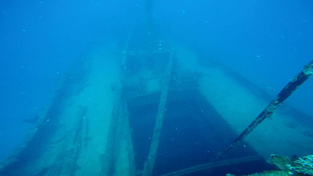 Cargo hold no.2 of the Akibasan Maru, looking forward and down from above the bridge