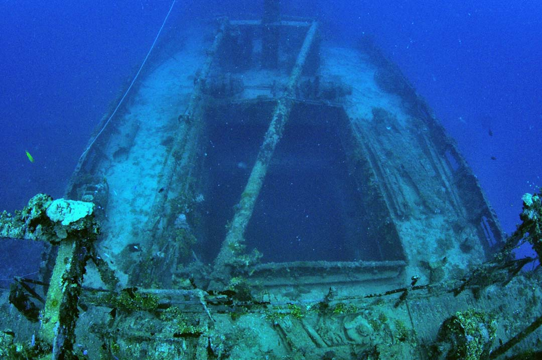 Cargo hold no. 5 of the Akibasan Maru, looking forward from over top of the stern superstructure