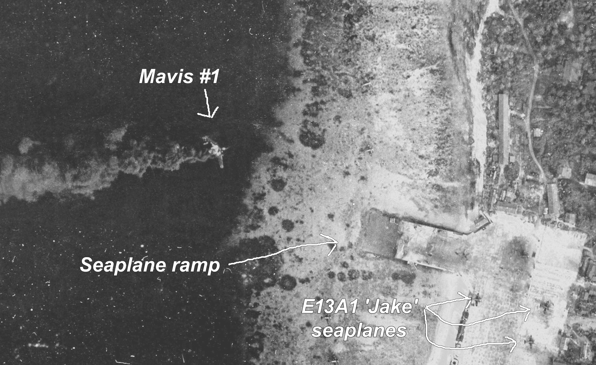 There is one historical photo in this group that shows 'Mavis #1' burning on the water on December 4th, 1943. That photo comes from my private collection- I obtained it when I hired a researcher at the US National Archives to find photos from the Dec. 4, 1943 attack on Kwajalein Atoll. I was completely thrilled when that photo came to me with the other results of the photo search. This article is the first time I've included it in anything I've written about the two Mavis wrecks. So it's a rare one for sure, and I'm happy to be able to include it for the first time with this article.