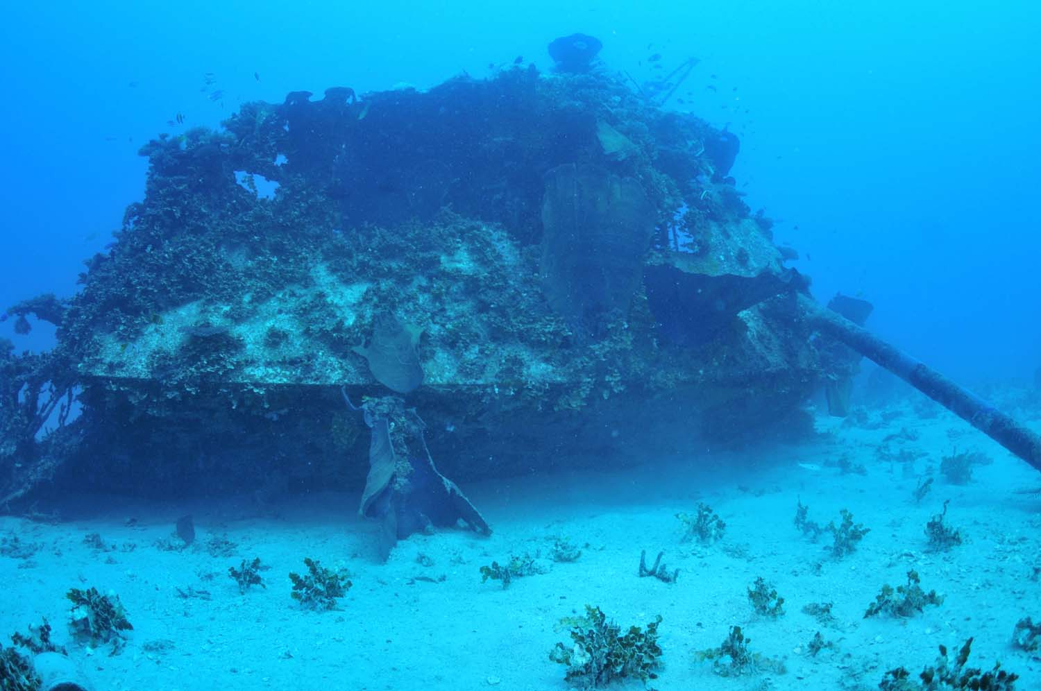 Parts of the float plane are scattered across the seabed