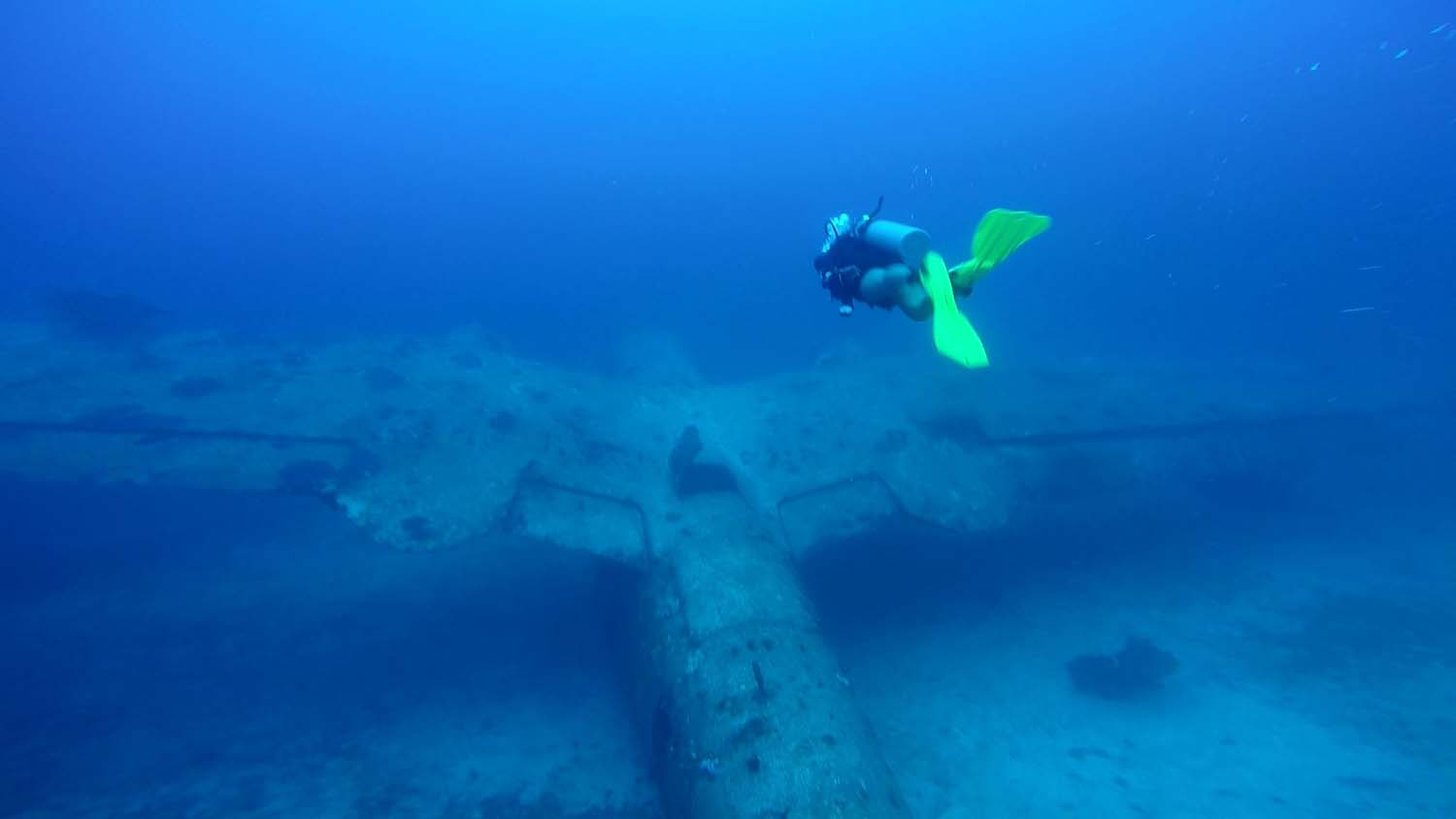 "The typical wing structure of the ""mariner"" is clearly visible on this PBM-3R aircraft wreck"