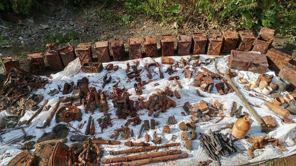 A wide variety of relics, including ammo boxes, were found during an expedition