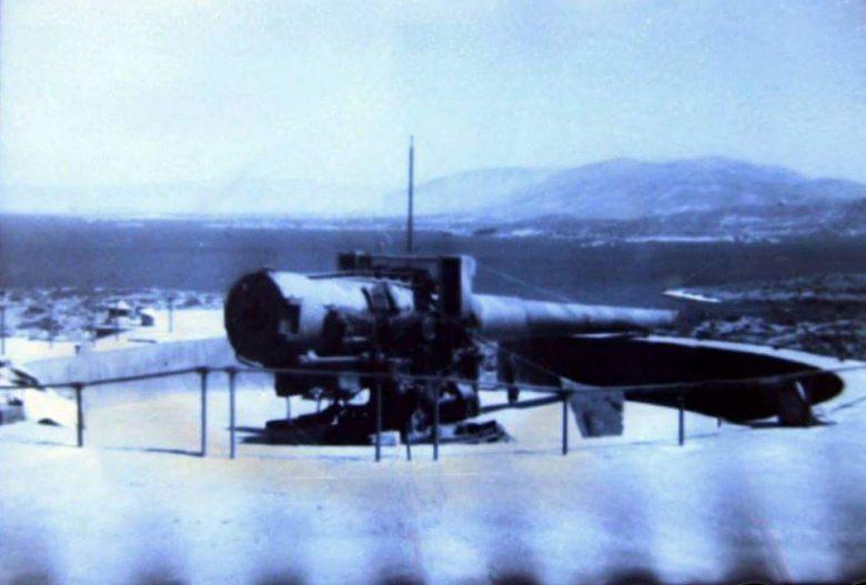 Φωτογραφία πυροβόλου των 178 χιλιοστών, στην πυροβολαρχία των Φλεβών. Στο βάθος διακρίνεται η νήσος Φλεβοπούλα.