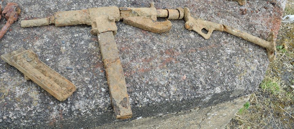 A Sten gun recovered during the research