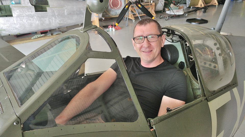 Stephen Taylor in a Spitfire cockpit
