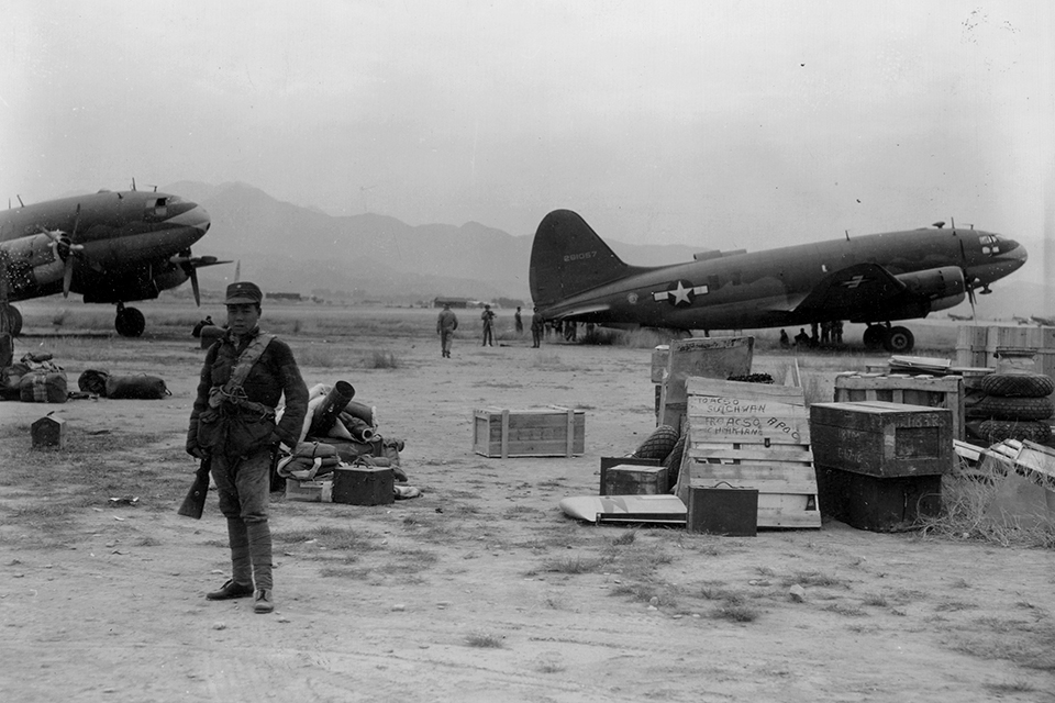 "The Commandos' stock in trade was the ability to get large quantities of supplies to remote unprepaired airfields like this one, ""Somewhere in China."""