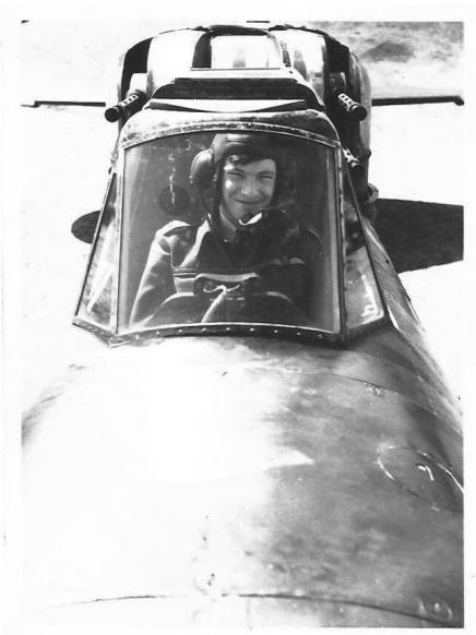 Flt Lt. Arthur Alexander 'Sandy' Ballantine sitting in the cockpit of Defiant N3333