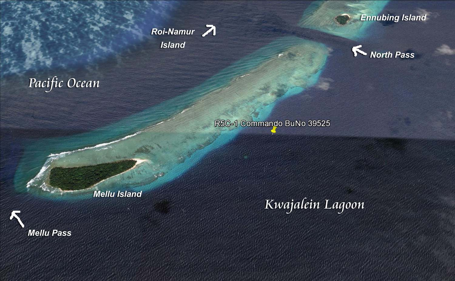 The wreck's location, just off