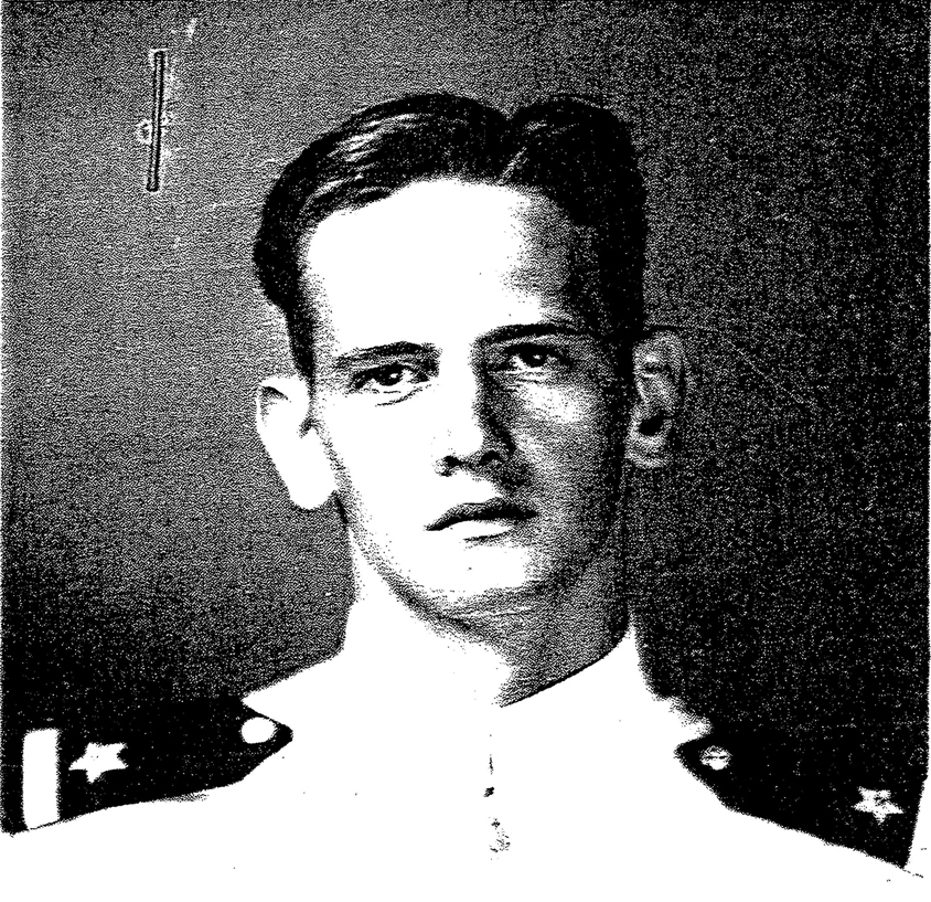 Ensign John R. Clem, Hellcat pilot who was killed in action at Kwajalein Atoll on February 1, 1944. This photo is from his U.S. Navy service file.