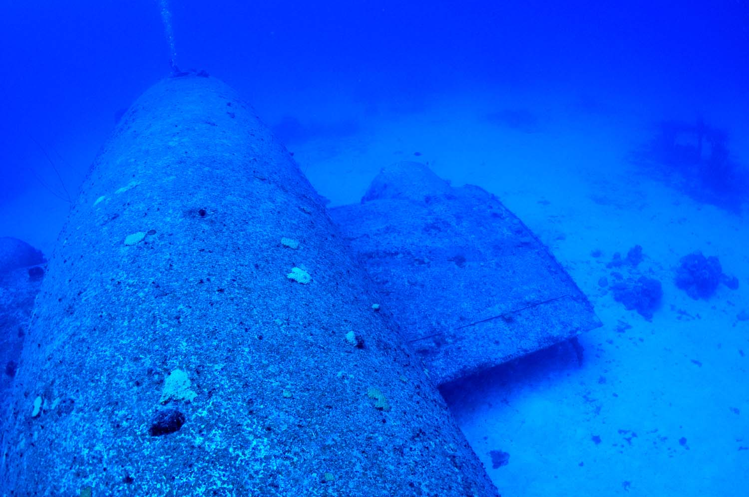 The wreck lies at a depth of 115 fsw (35 metres of salt water).