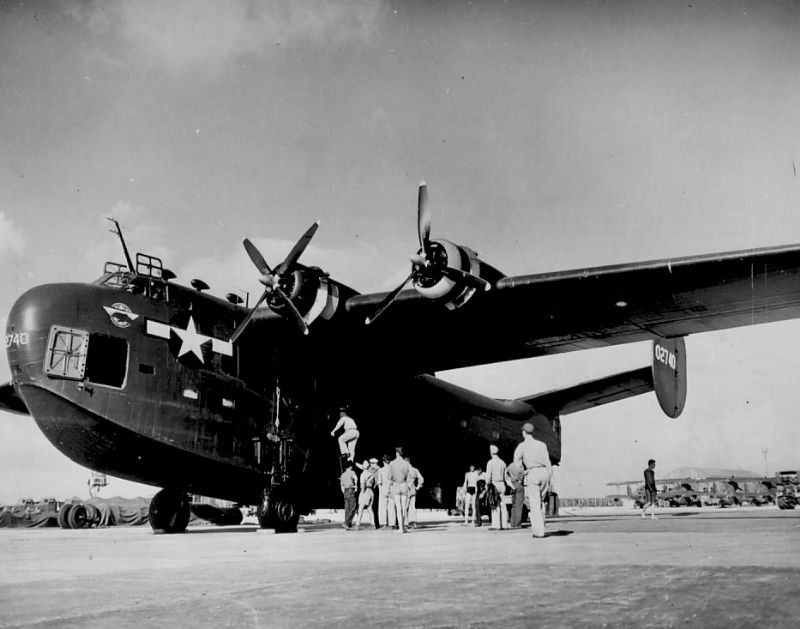 A PB2Y-5R Coronado at Naval Air Base Ebeye Island, February 1945. (Dan Farnham collection)