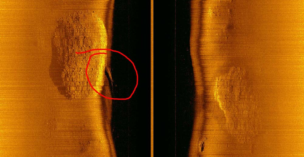 The forward section of Gunga Din as it first appeared on side-scan sonar, on August 21, 2017. (courtesy of the Kwajalein MIA Project)