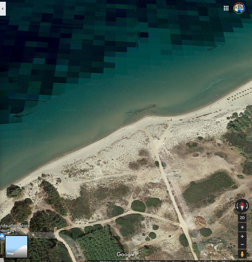 The wreck is visible on Google Earth