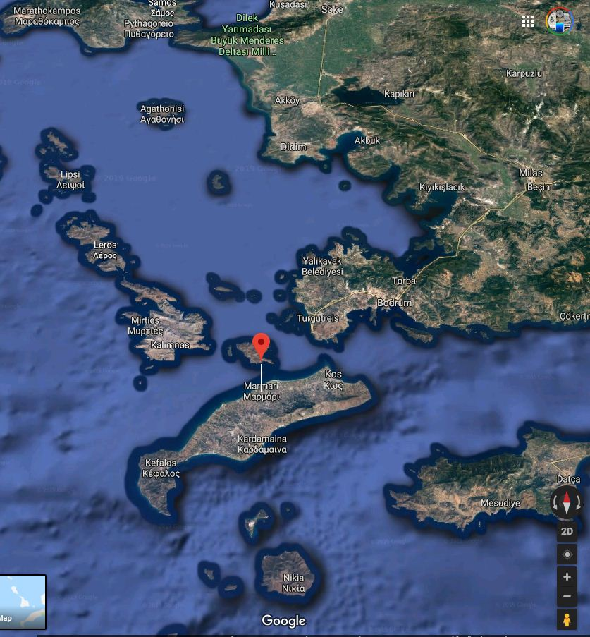 The island of Kos, where the events unfolded, leading to the destruction of F-131
