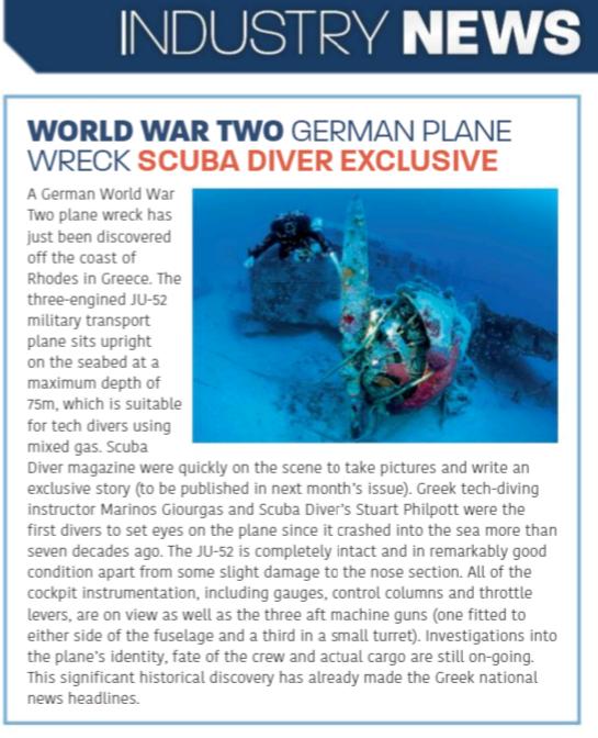 Το περιοδικό Scuba Diver παρουσίασε το Ju52 σε παγκόσμια αποκλειστικότητα