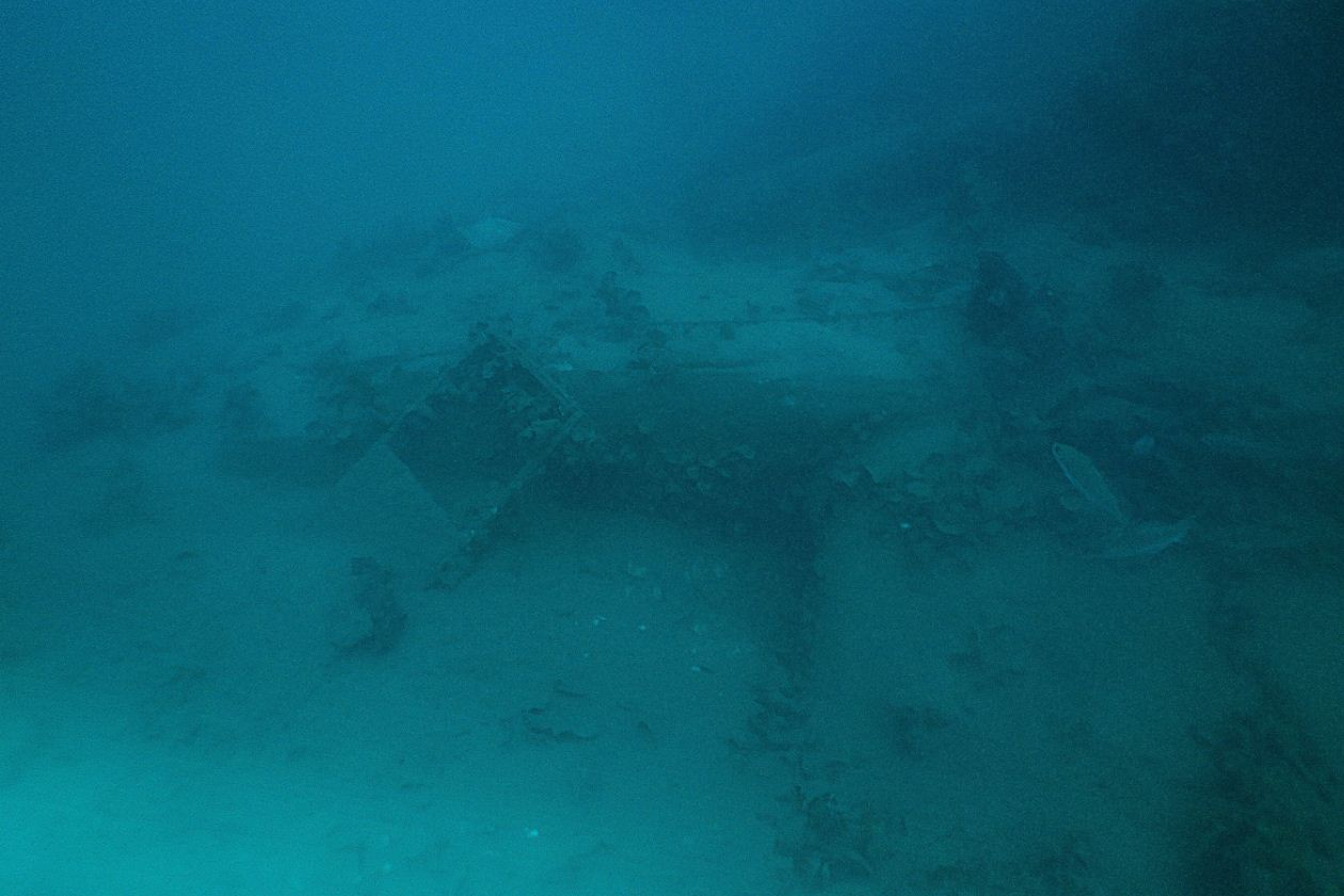 The aircraft wreck is at a depth of 55 metres