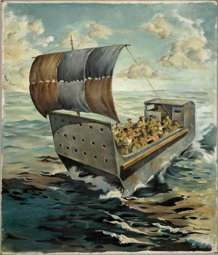 he barge from Crete, painted by Peter McIntyre, New Zealand's official war artist, in July 1941. McIntyre's painting illustrates the epic journey of a group of escapees who sailed an abandoned landing barge from Crete to Egypt. The 137-strong party, mostly Royal Marines, set out on 1 June. Nine New Zealanders were thought to be among this party, although the only one known by name was Private W.A. Hancox. He had been picked up 3 km off shore, paddling along on a plank of wood. After the barge's fuel ran out blankets were rigged as sails. To make sure these caught the breeze the men often had to jump into the water and push the nose of the barge in the right direction. Conditions on board were tough. Food supplies were rationed to half a tobacco tin of water and a teaspoon of bully beef per day. During the voyage one soldier died of exhaustion and another committed suicide. On 9 June, eight days after leaving Crete, the barge drifted ashore 24 km west of Sidi Barrani in Egypt.