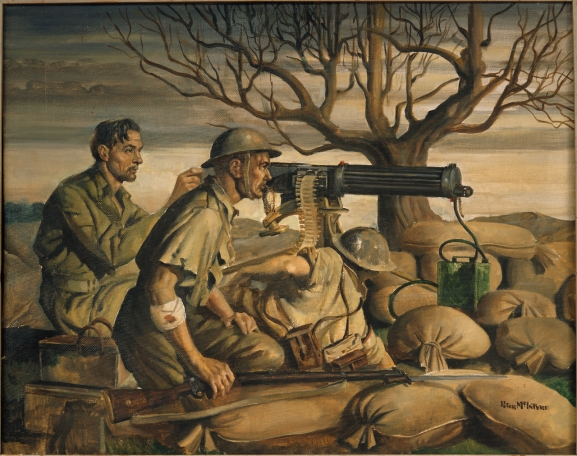 Machine gunners on alert at dawn, behind their World War One style Vickers machine gun. Oil, 562 x 700mm Greek Campaign