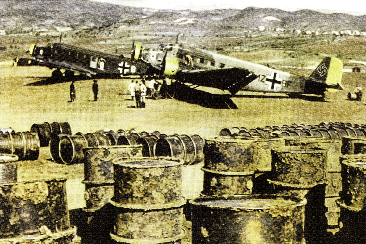 Ju 52 were used in a variety of roles, including carrying gasoline barrels for the garrisons stationed in the Greek islands.