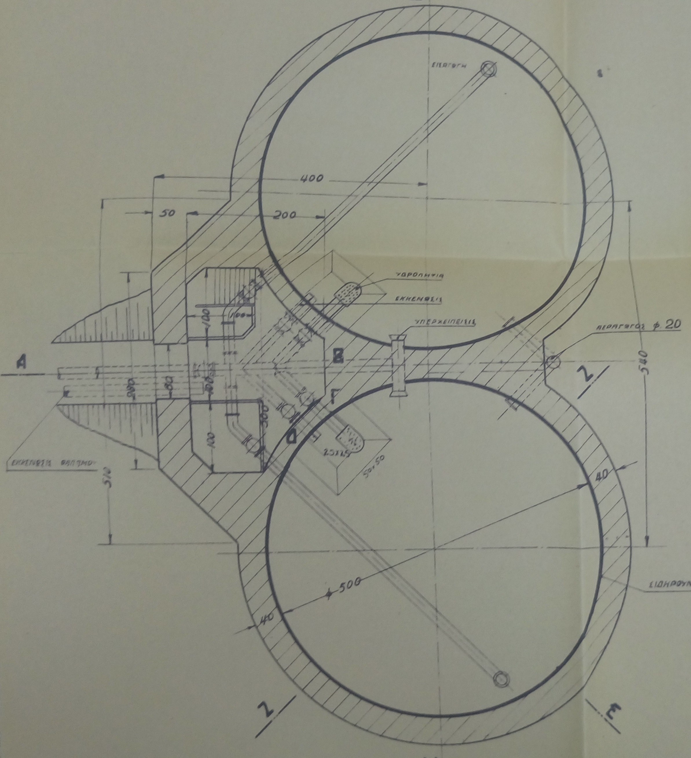 The original drawings of the twin water tanks
