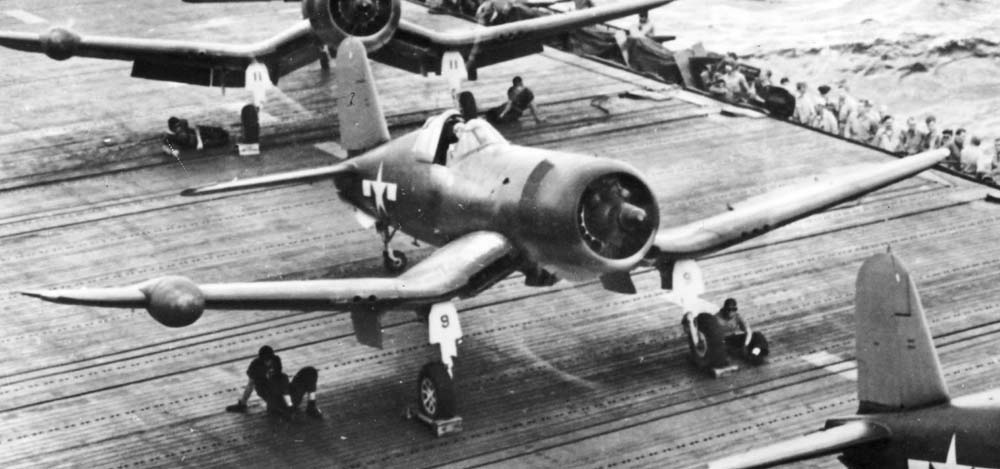 F4U-2 night fighters of VF(N)-101 on the USS Intrepid (CV-11) in early 1944