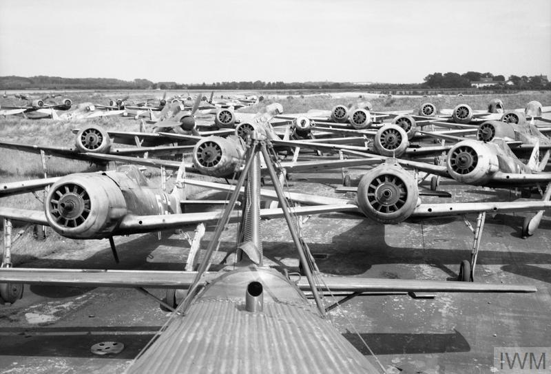FW190s await destruction near the German city of Flensburg