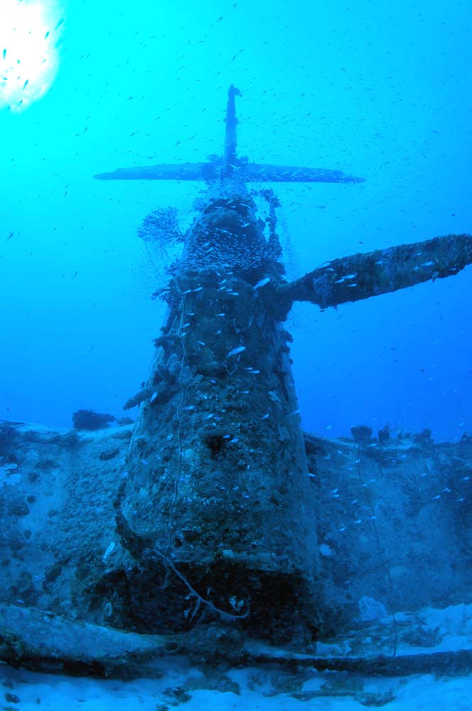 Front view of the Corsair, with the propeller