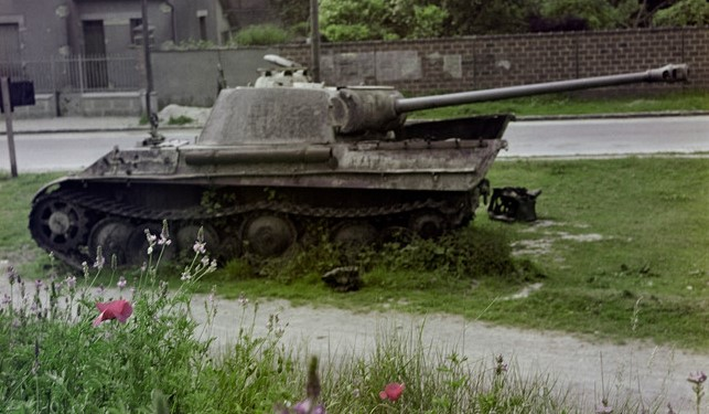 "BELGIUM. 1947. A destroyed German ""Panther"" tank."
