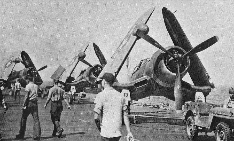 F4U-2 night fighters on the USS Enterprise (CV-6) in January 1944
