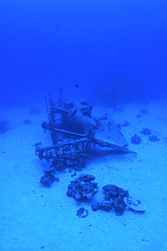 Rear view of the upside-down Avenger, at the seabed of Kwajalein Lagoon