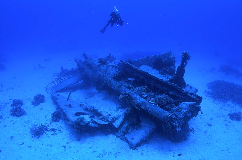A scuba divers hovers above the Avenger, filming the aircraft wreck