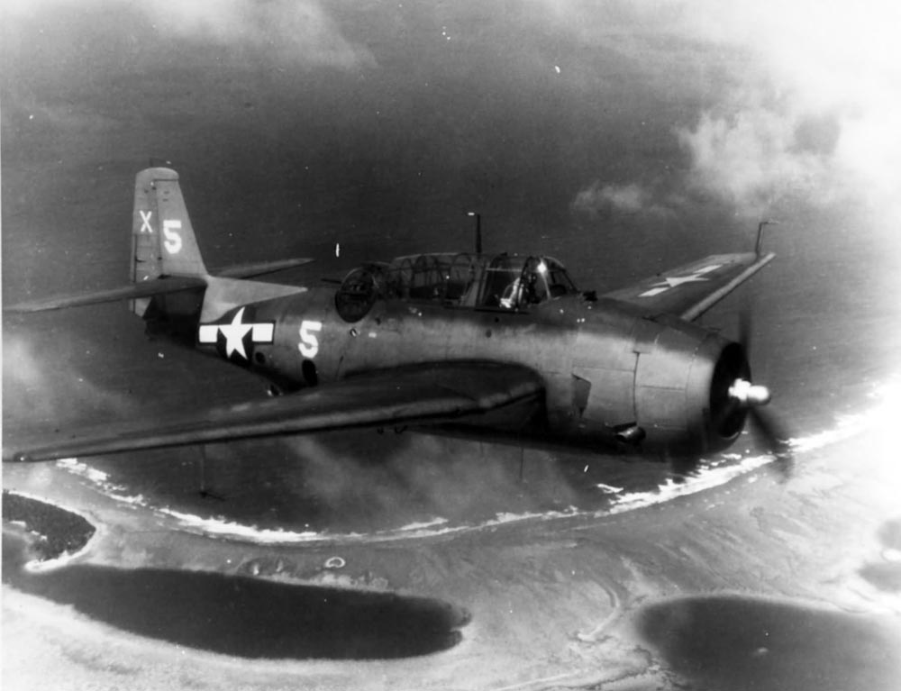 TBM-1C_of_the_VT-51_USS_San_Jacinto_over_Majuro_Atoll_30_May_1944