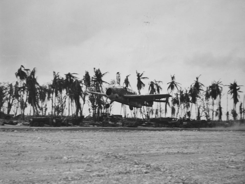 The first American plane to land on the airstrip on Kwajalein island was this TBM Avenger which had developed engine trouble, and had to make an emergency landing while the battle for the island was still raging.