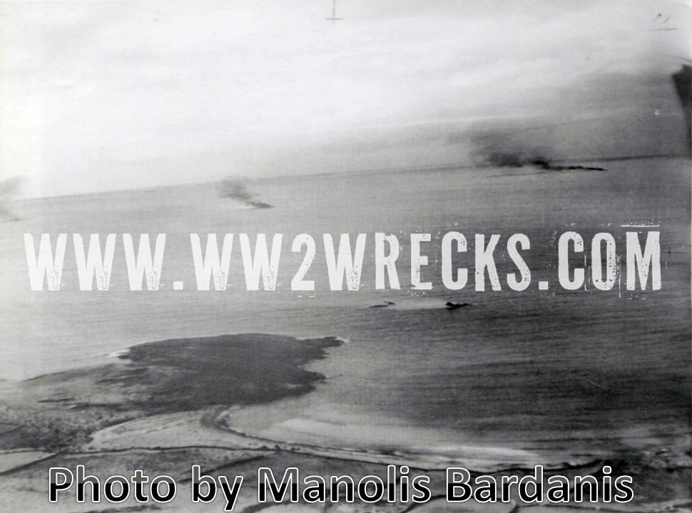 This is the photo unearthed by respected researcher Manolis Bardanis, showing the 4 burning aircraft wrecks