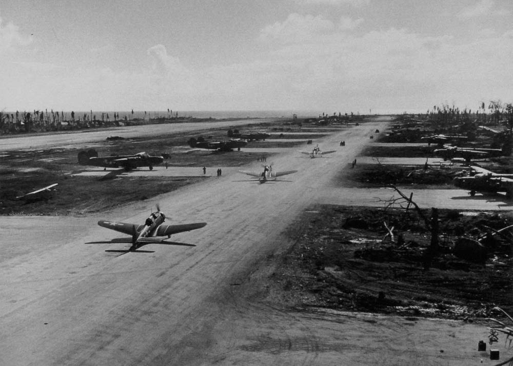 SBD-5 Dauntlesses have just returned to Kwajalein Island following an anti-submarine patrol in March 1944.