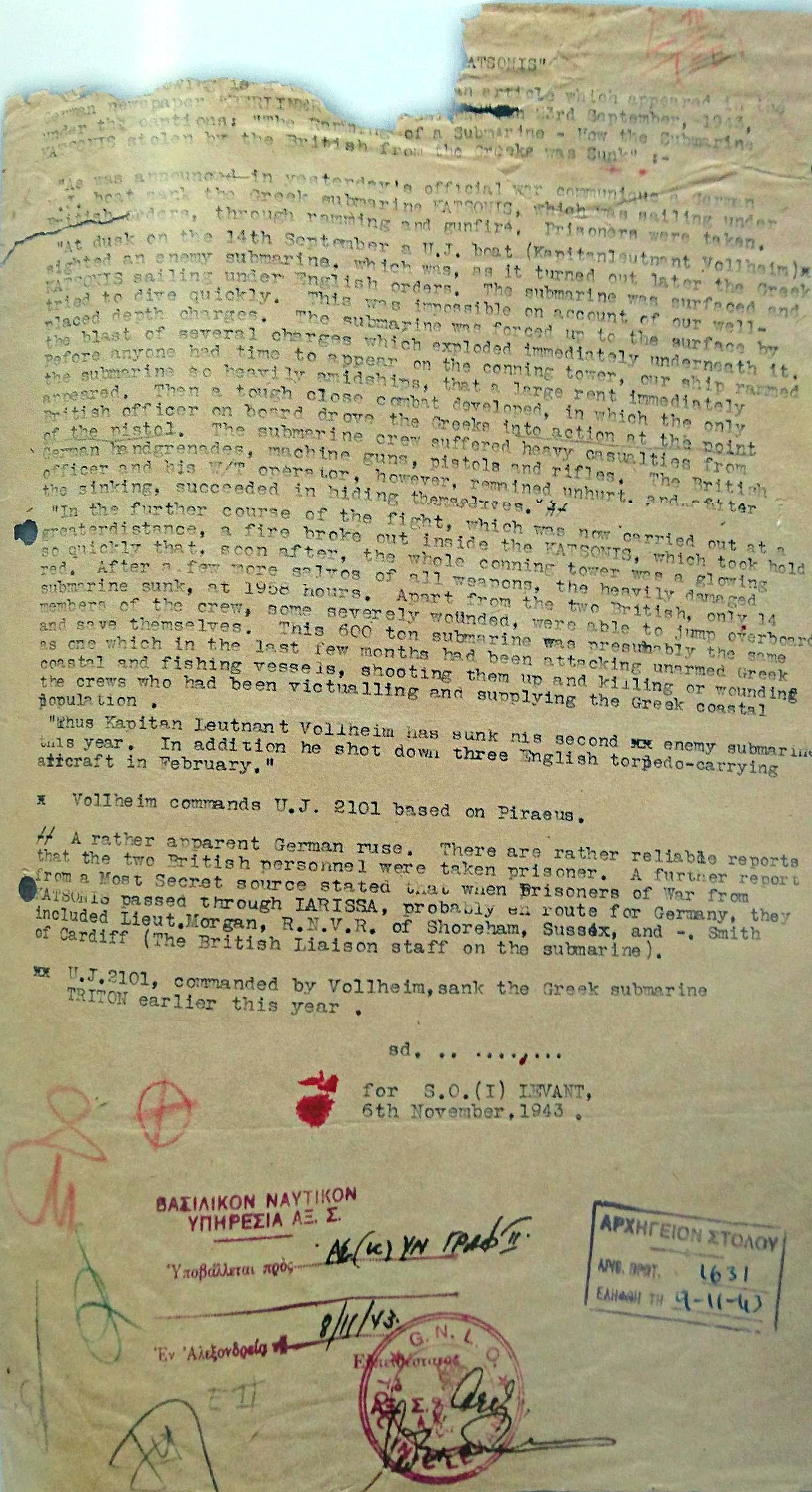 Φωτό 04 - Αναφορά Υποπλοιάρχου, H.J.C. Horgan, Σώμα Εθελοντών Βρετανικού Βασιλικού Ναυτικού