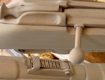Detail of the wooden replica rifle, made by Mr. Ilias Katsaros
