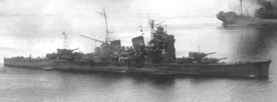 HIJMS Haguro getting underway, Rabaul 1943