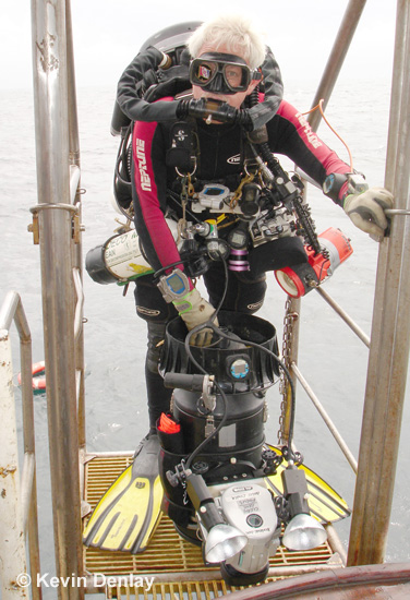 Kevin departing for a photographic survey dive in the Java Sea off MV Empress
