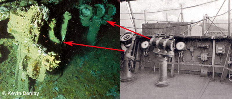 With the helm in the left foreground, a comparison of other bridge instruments can be made on Hr. Ms. Java. Left on the wreck, right from an historical photo. Unfortunately the compass itself has fallen out when Java sank