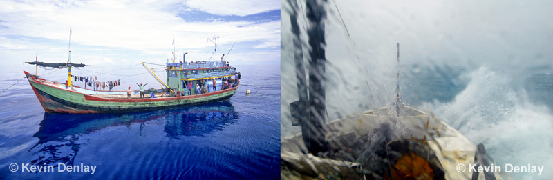 The Java Sea was generally very calm (left) but at times it could be downright nasty (right)