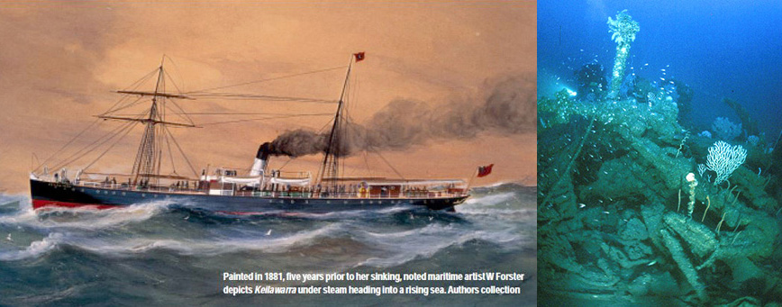 Left; a painting made in 1881 of the SS Keilawarra, the wreck that Kevin and friends discovered in 2000. Right; a diver approaches the large anchor on the now collapsed bow of Keilawarra. Photo Mark Spencer ( http://www.markspencer.com.au/ )