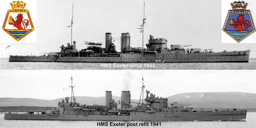 Top: HMS Exeter in the configuration she would have basically been in when she fought Admiral Graf Spee in the South Atlantic during December, 1939. Bottom: Exeter's new 'look' following her repairs and modernistation in 1940 / 1941 when back in England after having returned their for said repairs