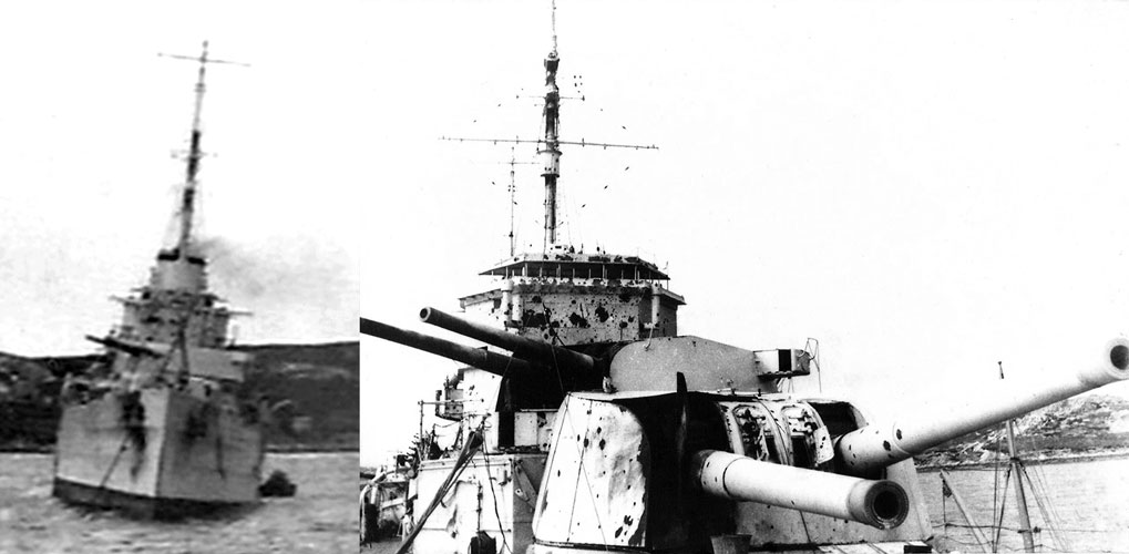 HMS Exeter was in dire straits after her battle with Admiral Graf Spee. Besides other serious damage, both fore guns suffered direct hits and were knocked out of action, and the bridge splattered with shrapnel, causing many deaths. Photographed here on her return from battle to Port Stanley, Falkland Islands