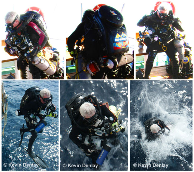 With almost as much gear on and a similar breathing system as an astronaut taking a space-walk, Kevin takes the plunge