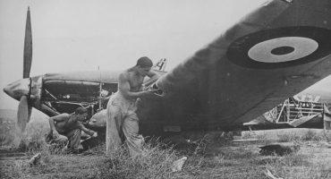 German personnel inspect a damaged RAF 80 Squadron Hawker Hurricane